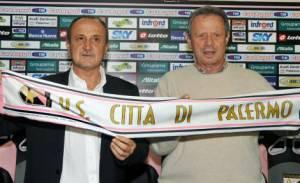 Delio Rossi e Maurizio Zamparini alla confernza stampa di presentazione
