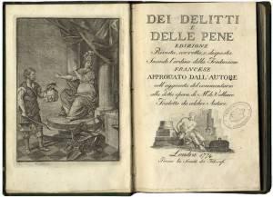 Il frontespizio di un'antica edizione dell'opera dei delitti e delle Pene, di Cesare Beccaria