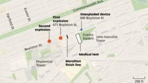 La mappa delle esplosioni di Boston
