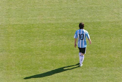 Messi con la casacca dell'Argentina