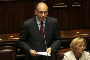 Newly appointed Italian Prime Minister Letta speaks at the Lower house of the parliament in Rome
