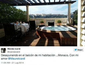 Il tweet di Wanda Nara da Monaco