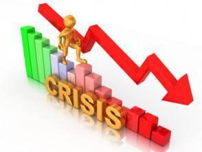 Man on diagram. Crisis. 3d
