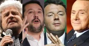Grillo, Salvini, Renzi, Berlusconi