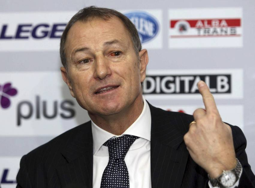 Albania's new soccer team coach Gianni De Biasi of Italy speaks during a news conference in Tirana December 19, 2011. De Biasi was named as coach to lead the national team during qualifying for the 2014 World Cup in Brazil, the soccer federation said on Wednesday. REUTERS/Arben Celi (ALBANIA - Tags: SPORT SOCCER)
