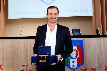 "FLORENCE, ITALY - MARCH 07: Massimiliano Allegri manager of Juventus FC won the gold coach for the 2014-2015 season during the ""Panchina D'oro season 2014-2015"" at Coverciano on March 7, 2016 in Florence, Italy. (Photo by Gabriele Maltinti/Getty Images)"