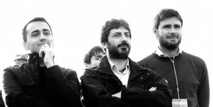 15/03/2014, Milano, comizio del Movimento 5 Stelle al Parco delle Cave. Nella foto Luigi Di Maio, Roberto Fico e Alessandro Di Battista