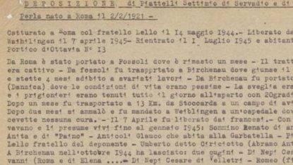 È morto Settimio Piattelli uno degli ultimi testimoni italiani della Shoah