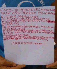 La lettera del piccolo Cristian