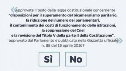 Il quesito del Referendum Costituzionale