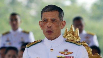 Thailand's Crown Prince Maha Vajiralongkorn watches the annual Royal Ploughing Ceremony in central Bangkok