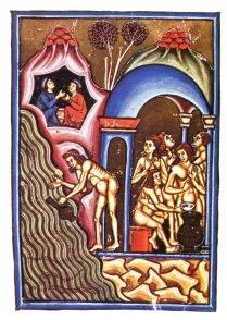 Miniatura di Pietro da Eboli. In alto a sinistra l'incontro tra San Germano e l'anima del diacono Pascasio alle terme di Agnano.