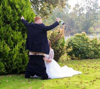 BRIDE AND GROOMS CHEEKY WEDDING SEX PIX