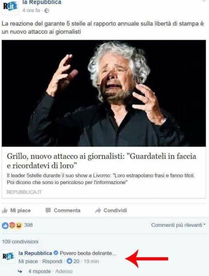 Commento pagina facebook repubblica