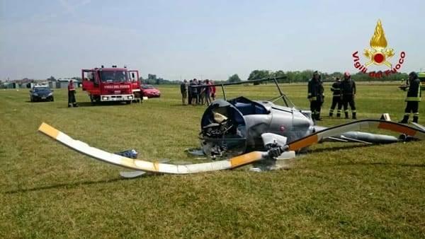 Santa Maria di Sala: cade elicottero ultraleggero, pilota gravemente ferito
