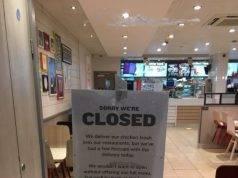 La Kentucky Fried Chicken annuncia la chiusura temporanea di alcuni punti vendita