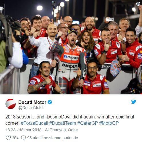 La Ducati festeggia la vittoria di Dovizioso su Twitter