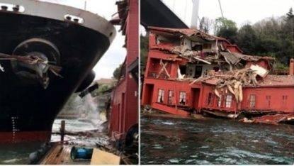 YOUTUBE Istanbul, nave cargo si schianta su villa ottomana