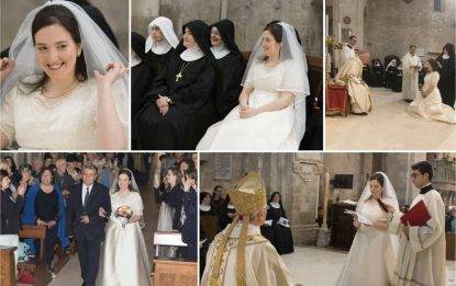 Carmen D'Agostino suora di clusura ma con l'abito da sposa