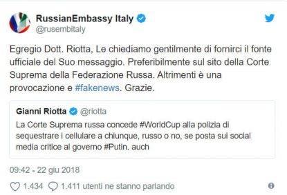 Rassegna 26.6. Le bufale di Gianni Riotta sulla Russia smascherate dall'ambasciata russa stessa