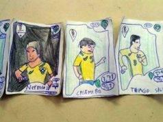 Il piccolo Pedro ha disegnato il suo album di figurine Panini