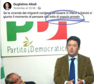 """L'assessore ex PD e la scritta choc su Facebook: """"Passare alla lotta armata contro Salvini"""""""