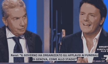 """Renzi: """"Governo ha organizzato gli applausi ai funerali di Genova"""". Padellaro: """"Ma che dici?"""""""