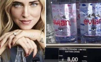 """Chiara Ferragni """"firma"""" le bottiglie dell'acqua: il loro prezzo fa impazzire il web"""