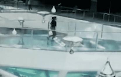 corre sulla gabbia degli squali