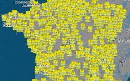 La mappa dei blocchi stradali che hanno fermato la Francia