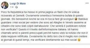 """Repubblica pubblica una news: """"Di Maio ricoverato al Gemelli"""" e la cancella subito dopo. Di Maio: """"Bufala, sto benissimo"""""""