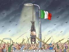 Salvini a testa in giù in una vignetta satirica