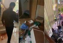 Fotogrammi della casa di Evo Morales devastata