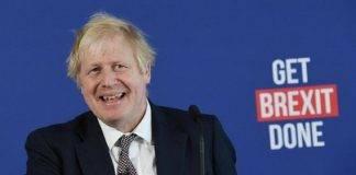 Premier britannico Boris Johnson in conferenza stampa Brexit