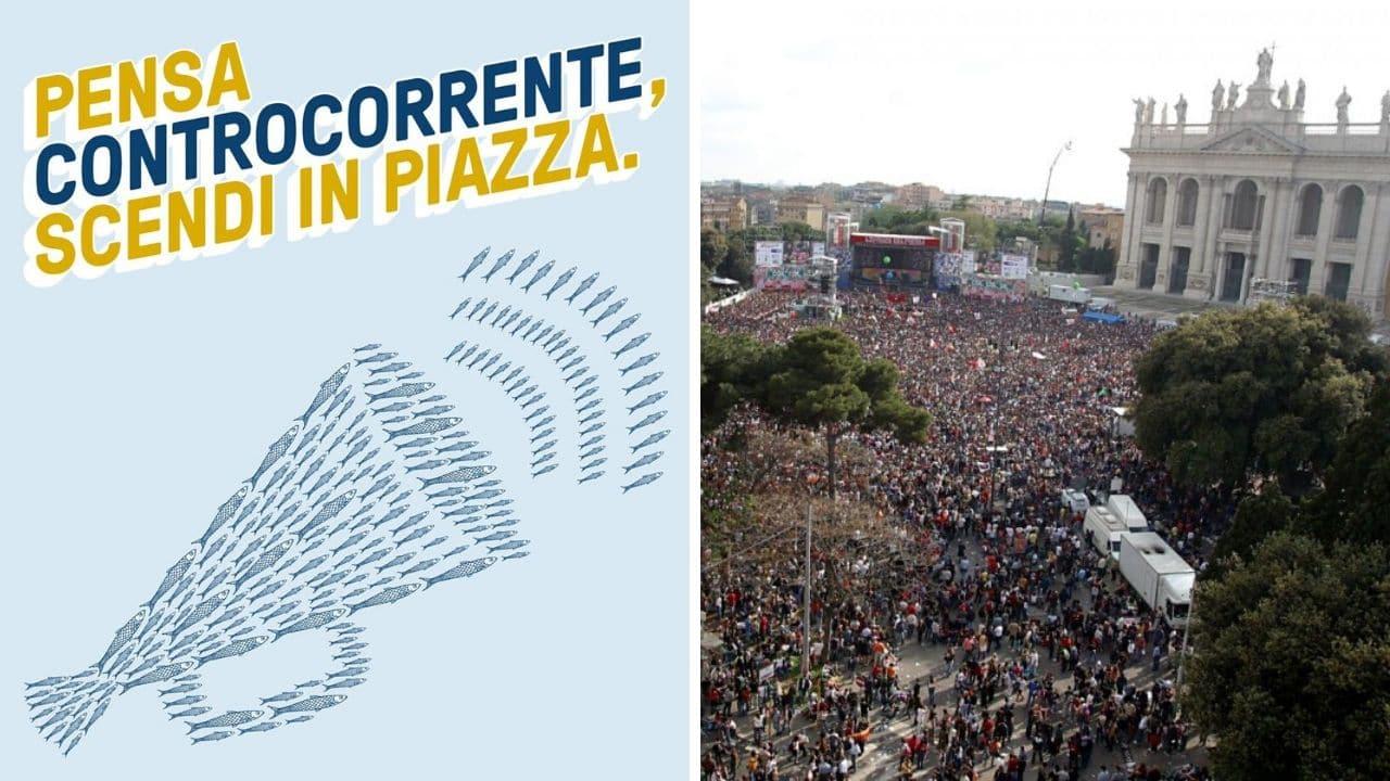 Sardine a San Giovanni in Laterano: 100.000 in piazza Roma.