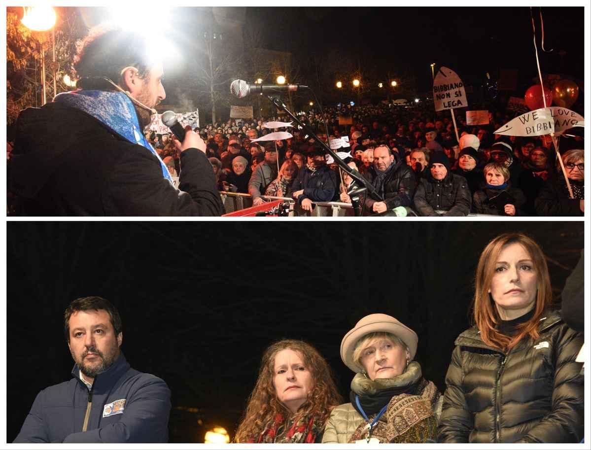 A Bibbiano Salvini sul palco con la mamma del piccolo Tommy.