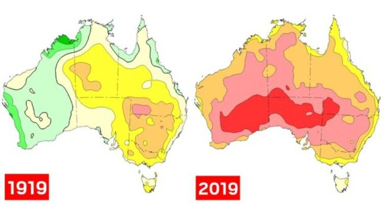 mappa australia caldo incendi