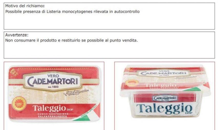 Altro prodotto richiamato lotti formaggio possibile presenza Listeria