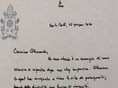La lettera di Papa Francesco per Alex Zanardi