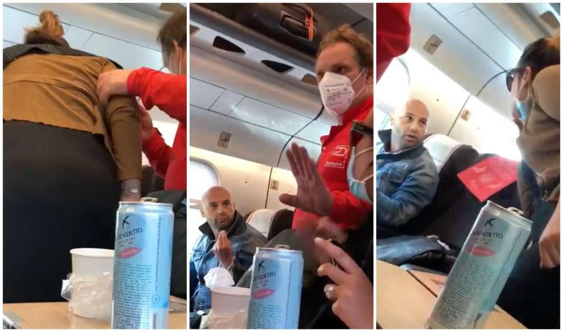 Follia sul treno: un uomo e una donna litigano per la masche