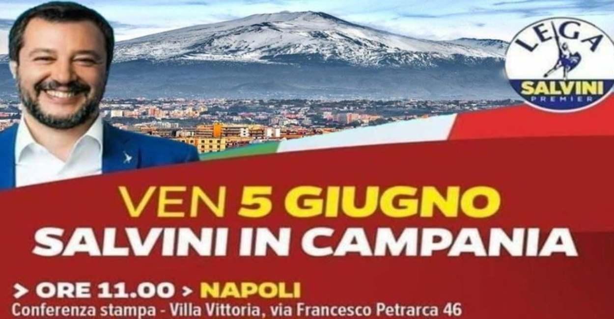 Salvini annuncia il tour in Campania. Ma nella foto alle sue spalle compare l'Etna