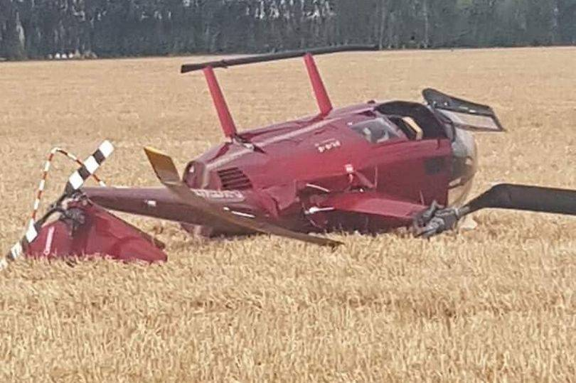 Elicottero schiantato al suolo