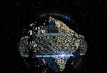 Illustrazione colonia mineraria di asteroidi