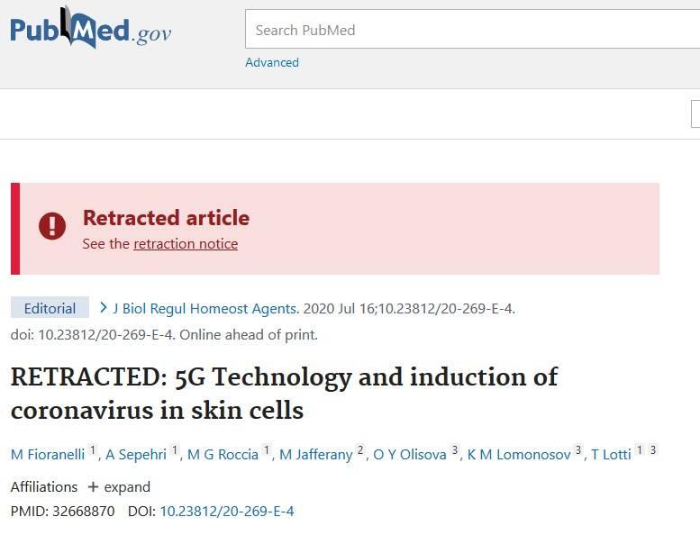 articolo coronavirus 5g ritirato