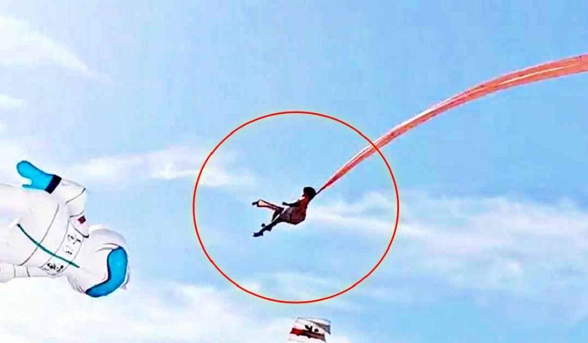 Taiwan, bimba di 3 anni prende il volo con l'aquilone