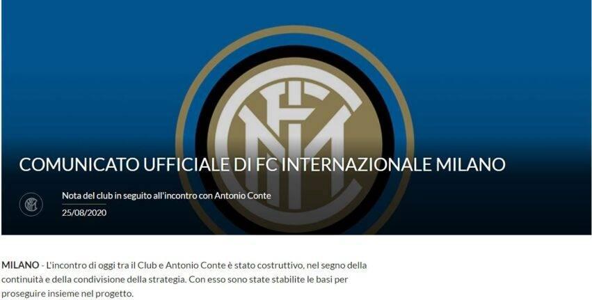Il comunicato ufficiale dell'Inter su Conte