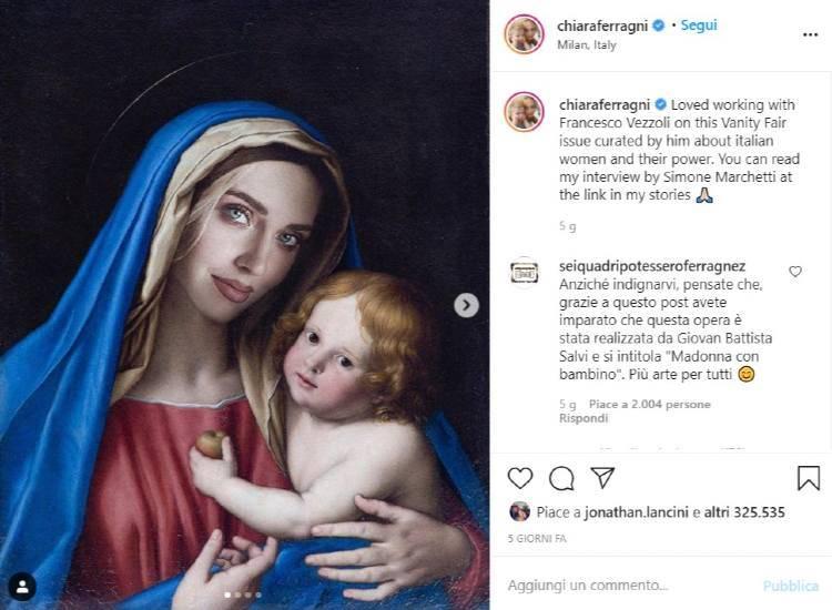 Chiara ferragni madonna con bambino Instagram