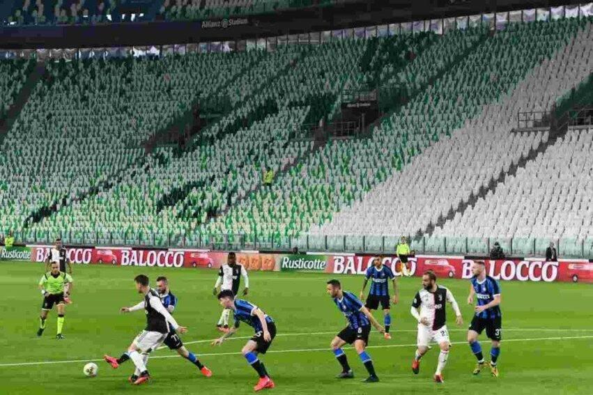 Lo stadio vuoto durante Juve-Inter