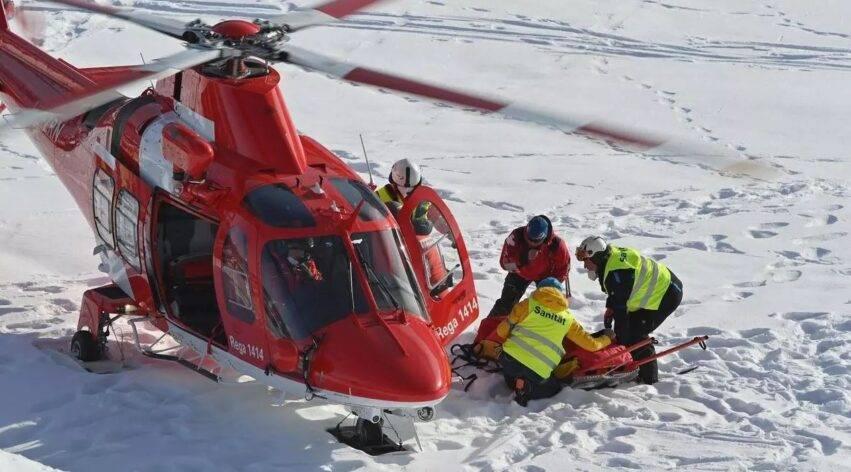 caduta al gigante di sci