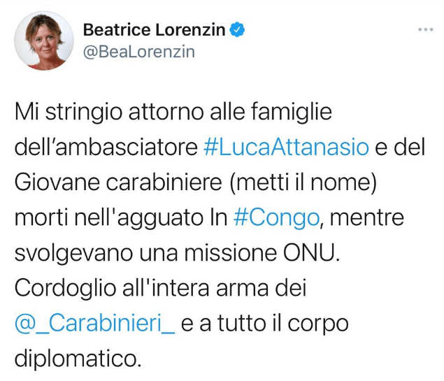 Beatrice Lorenzin-Post Twitter Il Giornale.it